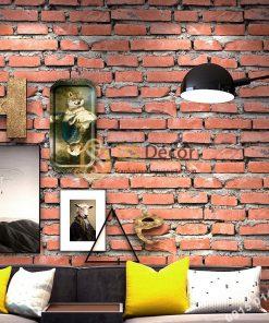 Giấy Dán Tường Giả Gạch Đỏ Cho Nhà Hàng Quán Ăn 3D188