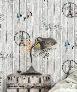 Giấy Dán Tường Gỗ Họa Tiết Con Dấu Tháp Eiffel 3D250