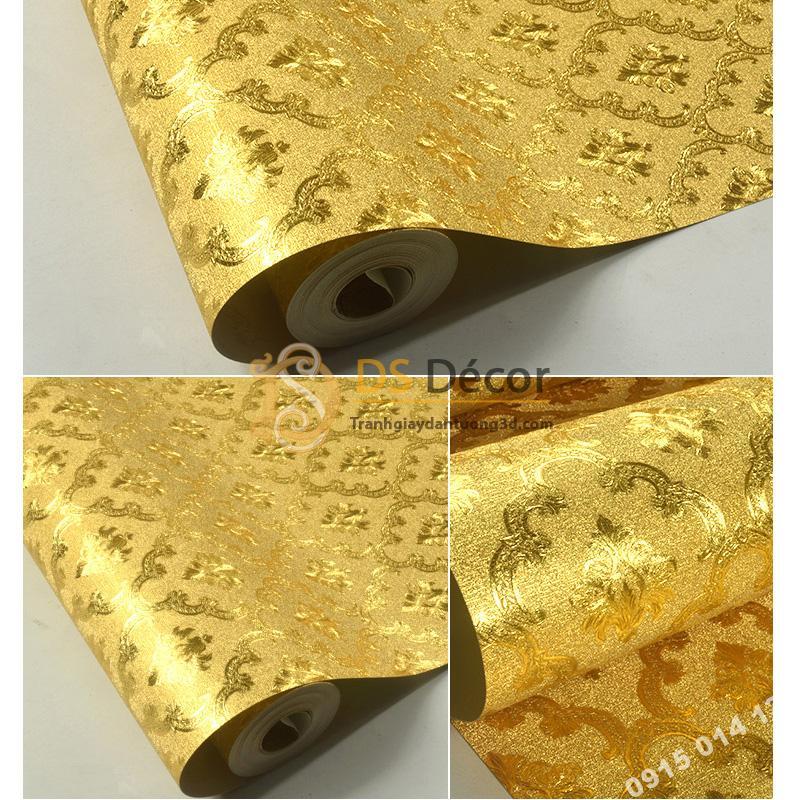 Giấy Dán Tường Nền Vàng Phong Cách Hoàng Gia 3D112