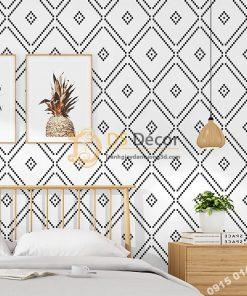 Giấy dán tường hình thoi trắng đen 3D308