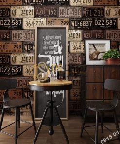Giấy dán tường họa tiết biển số xe cho quán cafe trà sữa 3D307