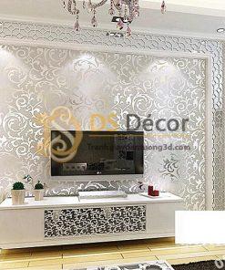 Giấy dán tường hoa lá cách điệu 3D296 dát vàng bạc